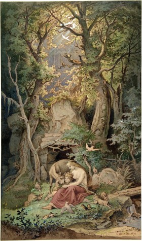 Adrian Ludwig Richter -1848 Genoveva in the Forest Seclusion